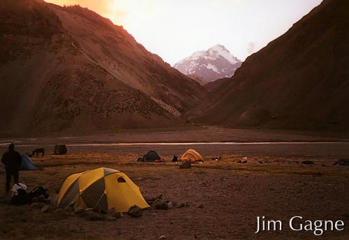 Trek camp 2, Casa de Piedra. First look at Mount Aconcagua in the back ground.