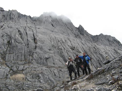 Brien Sheedy, Dan Barter and Kevin Flynn at Carstensz Pyramid