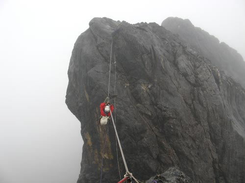 Brien on a Tyrolean Traverse