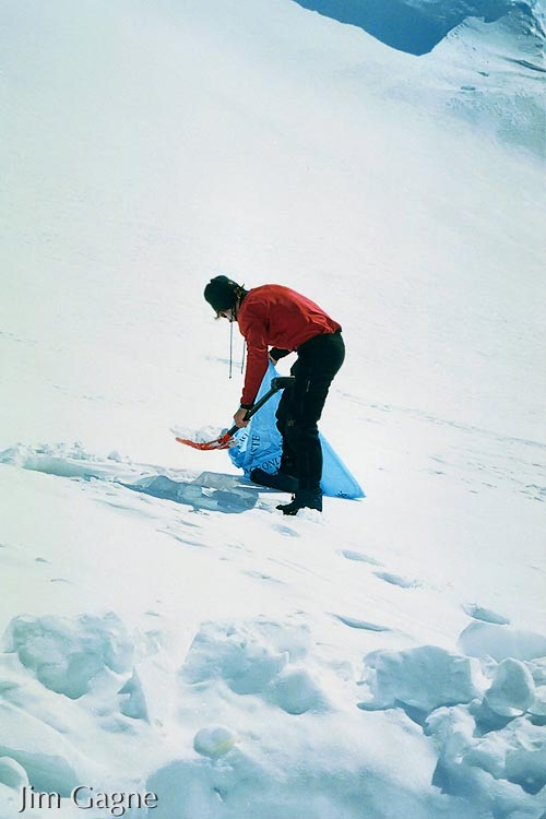 Jim Gagne gathering snow for water