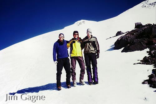 Brein Sheedy, Dan Barter and Jim Gagne after summiting Mount Elbrus