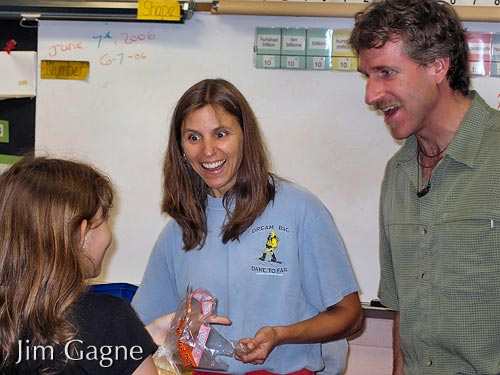 Jim with Mrs. Shuffelton in 4th grade classroom