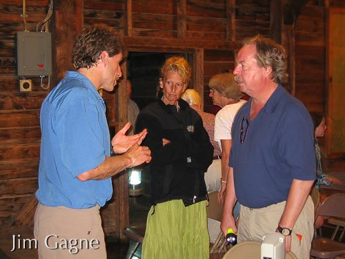 Jim speaking with guests at Rockywold camp